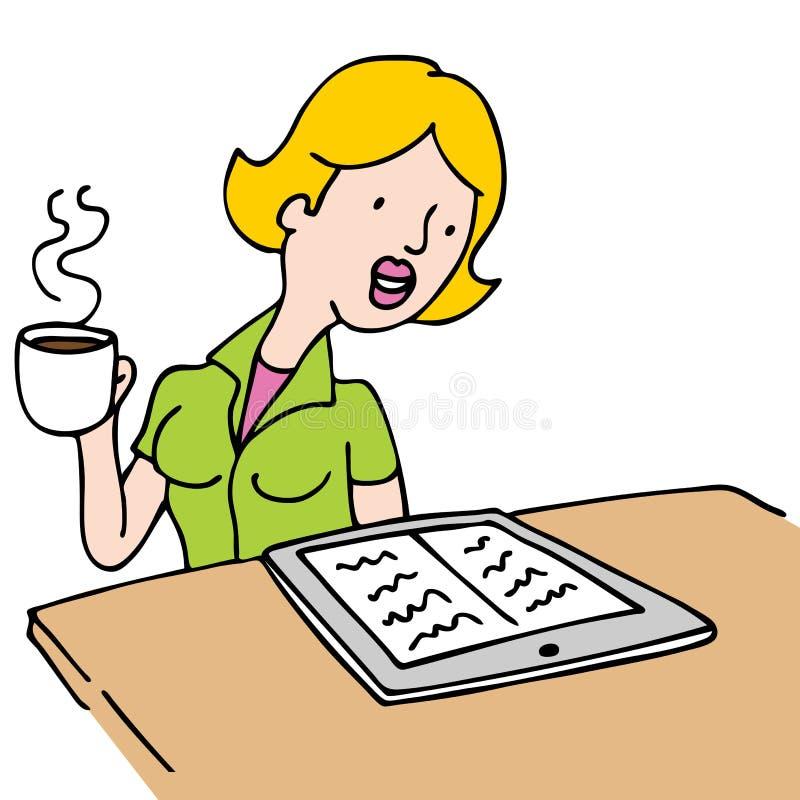 Vrouw die een Ebook leest en Koffie drinkt royalty-vrije illustratie