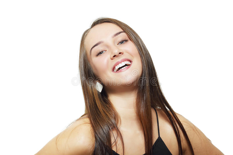 Vrouw die een goede lach hebben stock afbeeldingen