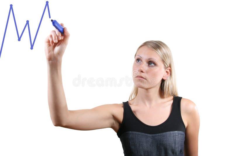 vrouw die een grafiek trekt royalty-vrije stock afbeelding