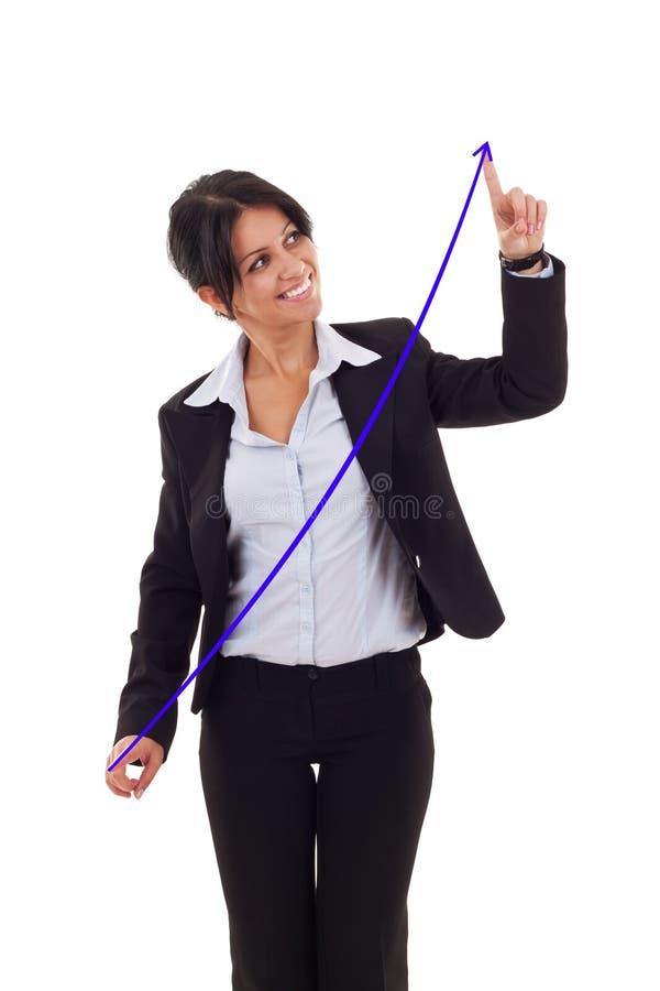 Vrouw die een het groeien grafiek trekt royalty-vrije stock foto