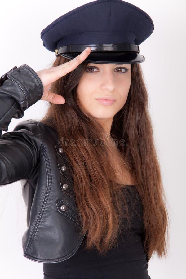 Vrouw die een hoed draagt stock afbeelding