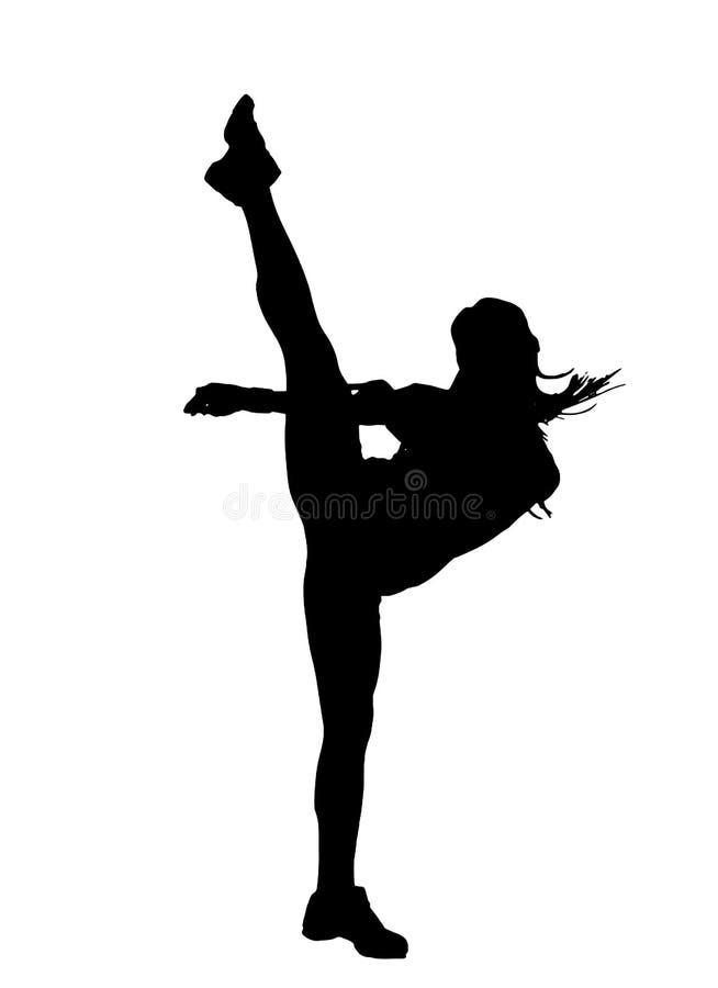 Vrouw die een hoge geïsoleerde schop doen stock illustratie