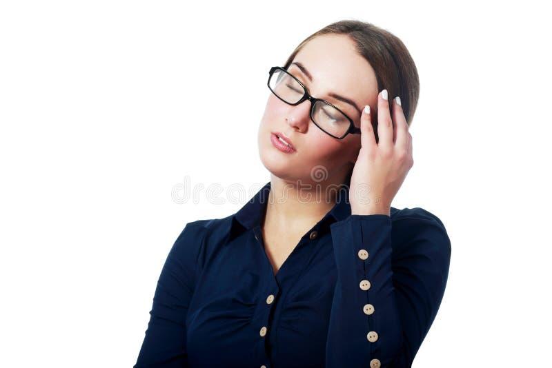 Vrouw die een hoofdpijn heeft stock foto's