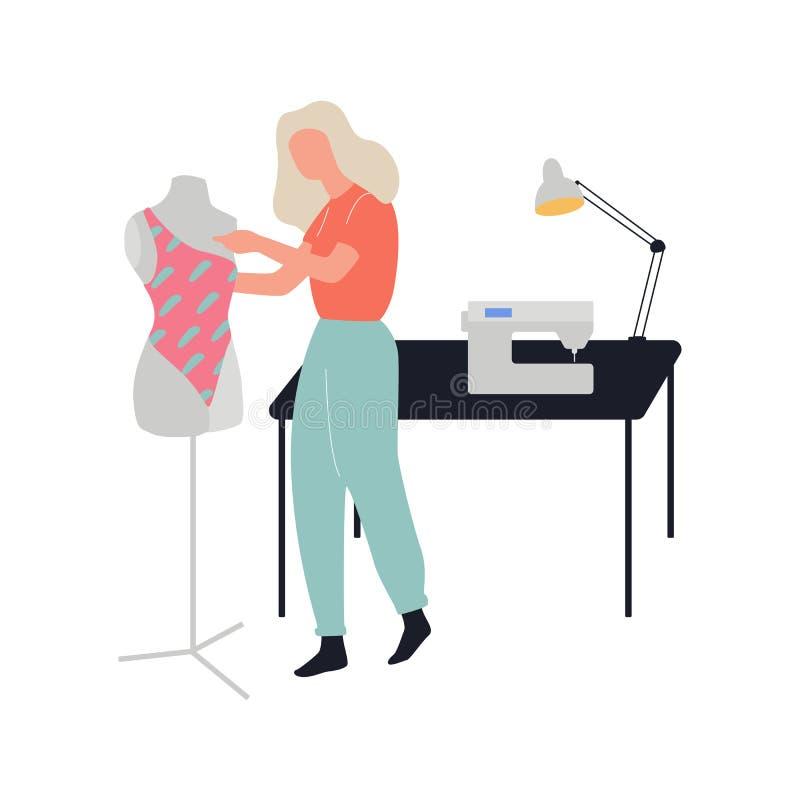 Vrouw die een kleding naaien Naaisterberoep, creatief beroep royalty-vrije illustratie