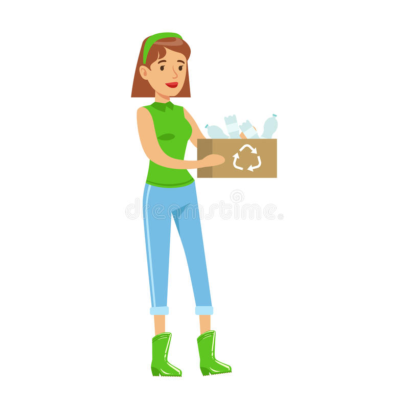 Vrouw die een Krat met Rekupereerbaar Plastic Afval dragen, die in Milieubehoud door Milieuvriendelijk Te gebruiken bijdragen stock illustratie