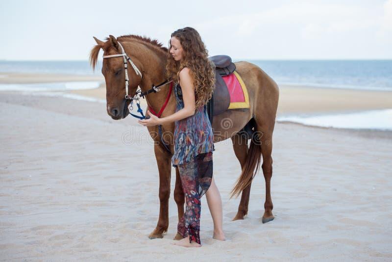 Vrouw die een paard berijden op zandstrand in de zomertijd royalty-vrije stock foto