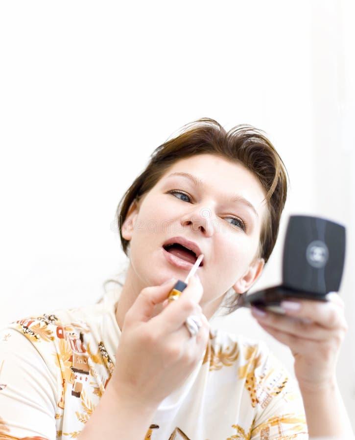Vrouw die een samenstelling doet stock fotografie