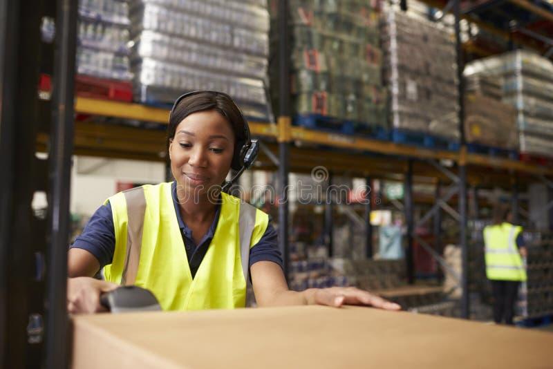 Vrouw die een streepjescodelezer in een distributiepakhuis met behulp van royalty-vrije stock fotografie