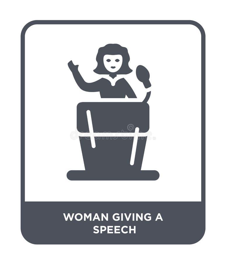 vrouw die een toespraakpictogram in in ontwerpstijl geven vrouw die die een toespraakpictogram geven op witte achtergrond wordt g vector illustratie