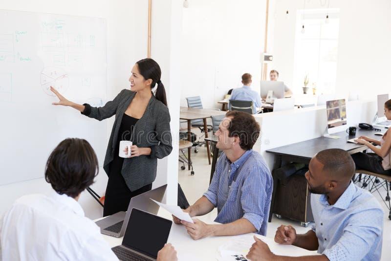 Vrouw die een vergadering voorstellen bij een whiteboard in een bezig bureau stock fotografie