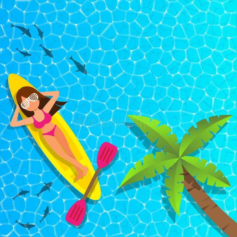 Vrouw die en op cannuboot bij het overzees ontspannen genieten van stock afbeeldingen