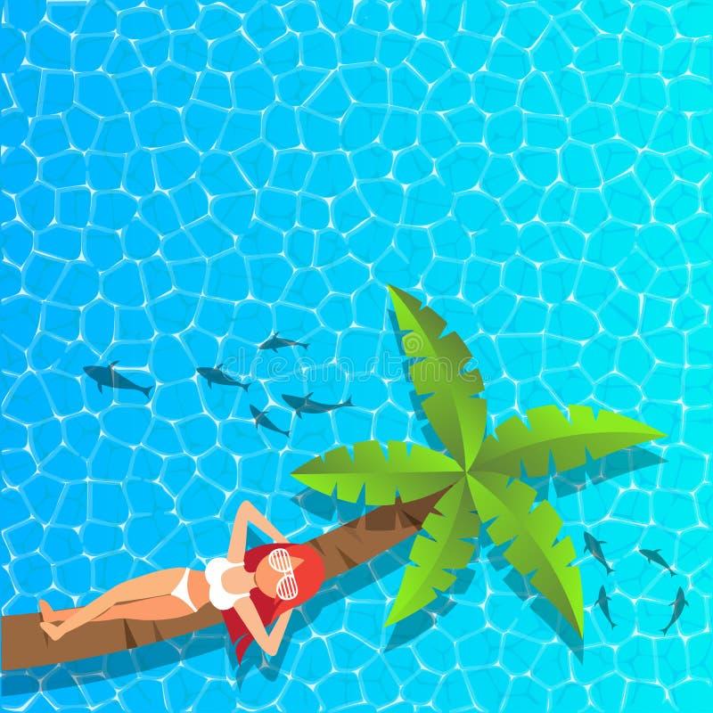Vrouw die en op kokospalm bij het overzees ontspannen genieten van royalty-vrije stock foto