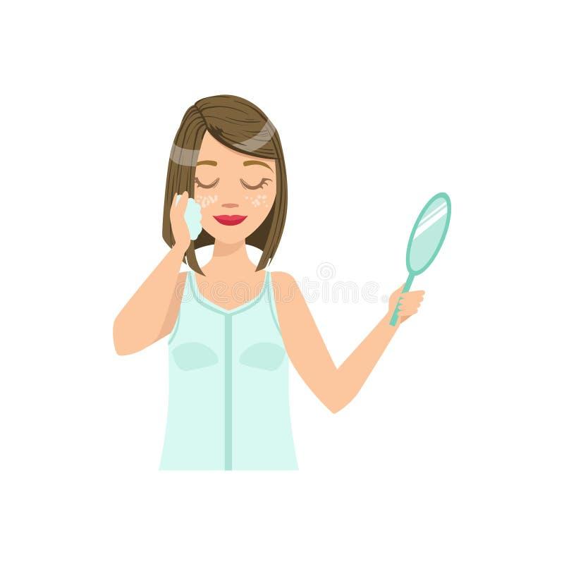 Vrouw die Facial Cleansing Home Spa Behandelingsprocedure doen royalty-vrije illustratie