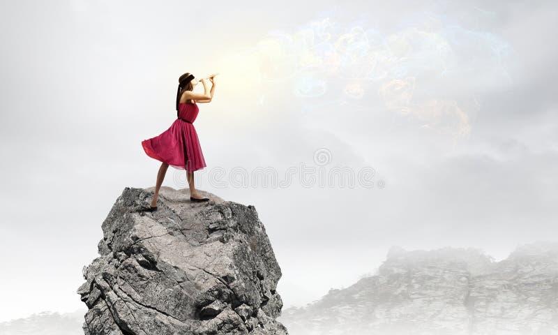Vrouw die Fife spelen royalty-vrije stock foto