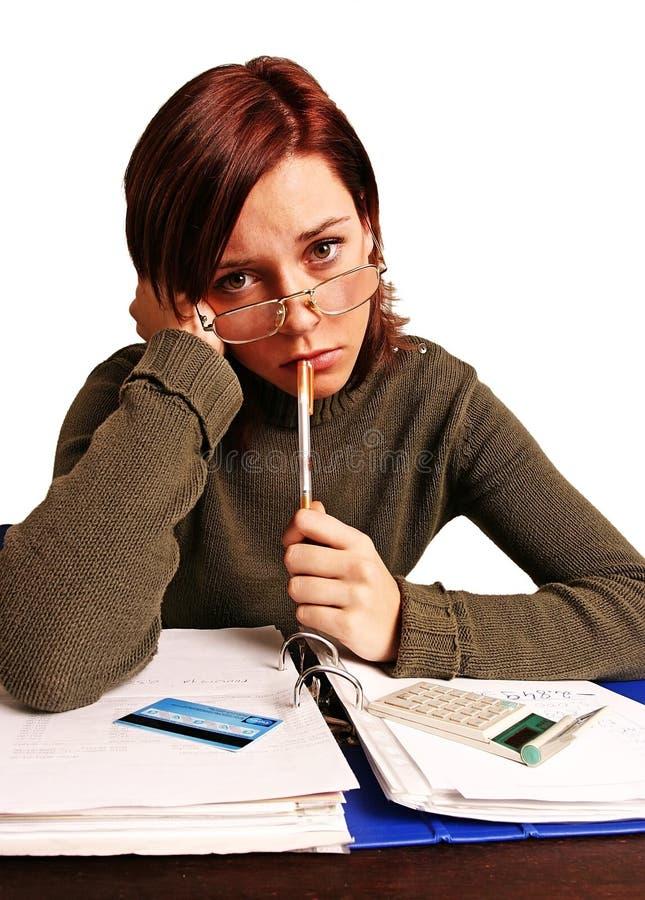 Vrouw die financiële problemen heeft stock afbeeldingen