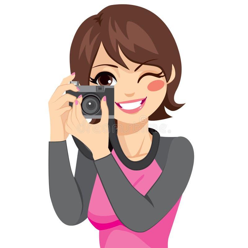 Vrouw die foto met camera neemt stock illustratie
