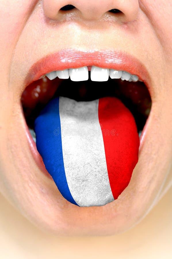 Vrouw die Franse taal spreken stock foto's