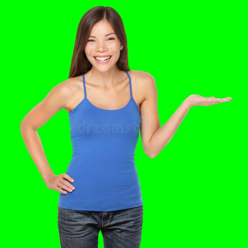 Vrouw die geïsoleerdg gelukkig toont royalty-vrije stock afbeeldingen