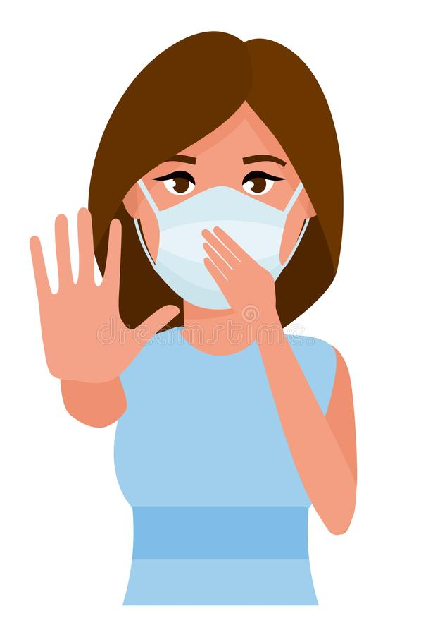 Vrouw die gebaareinde tonen Jonge vrouw met het masker van de geneeskundegezondheidszorg tegen witte ruimteachtergrond Vlak beeld stock illustratie
