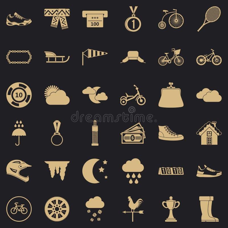 Vrouw die geplaatste pictogrammen uitoefenen, eenvoudige stijl vector illustratie