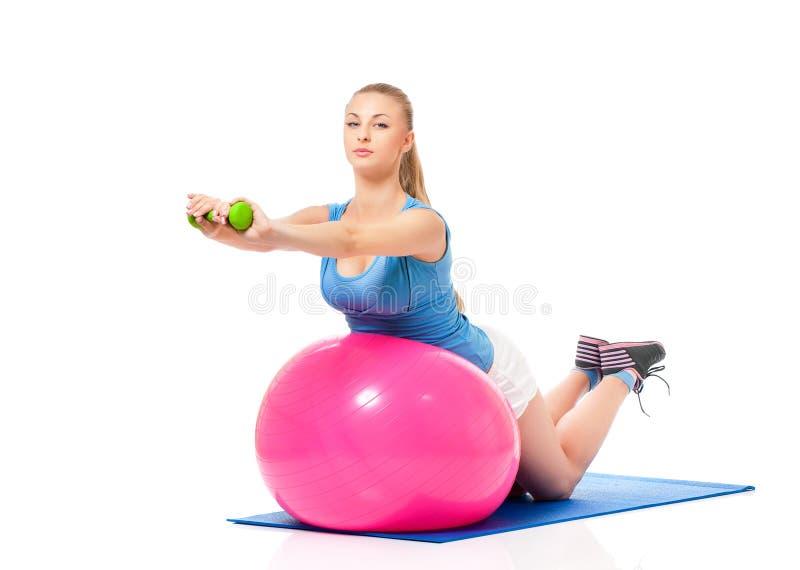Vrouw die geschiktheidsoefening doet stock afbeeldingen