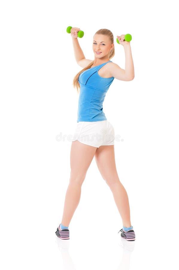 Vrouw die geschiktheidsoefening doet stock afbeelding