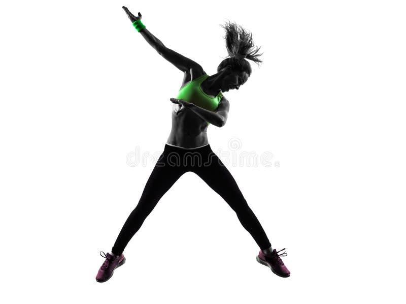 Vrouw die geschiktheidszumba dansend het springen silhouet uitoefenen royalty-vrije stock foto