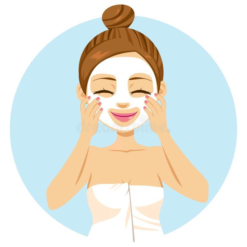 Vrouw die gezichtsmasker toepassen royalty-vrije illustratie
