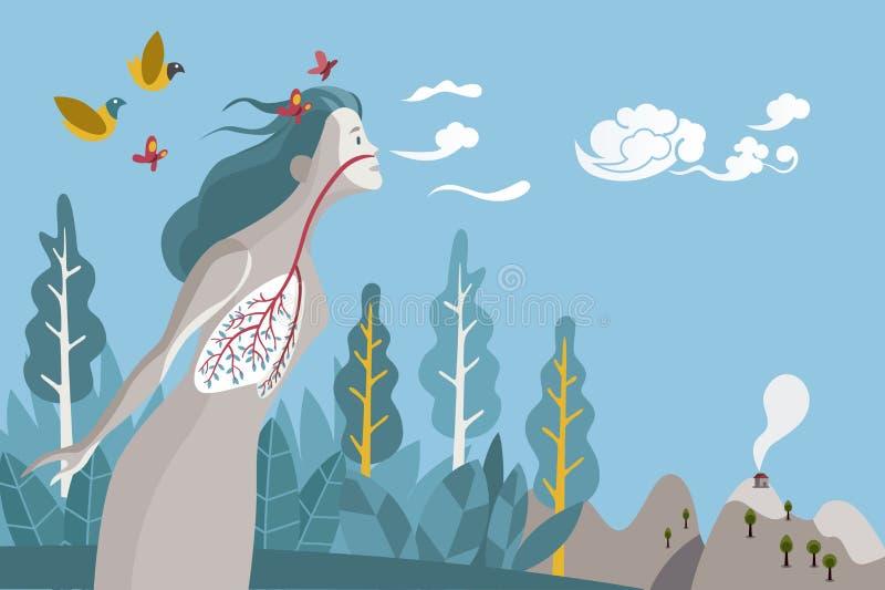 Vrouw die gezond ademen vector illustratie