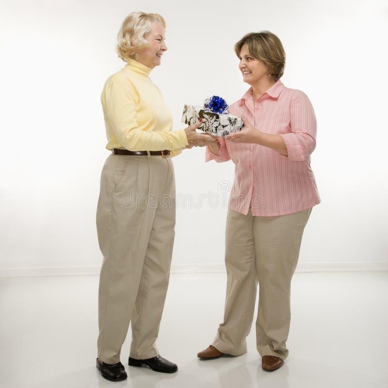 Vrouw die gift geeft aan vriend. royalty-vrije stock foto's