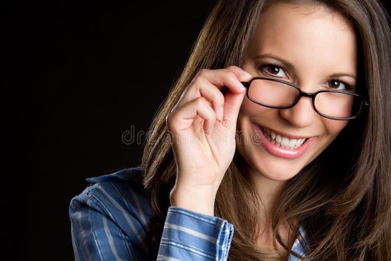 Vrouw die Glazen draagt stock foto's