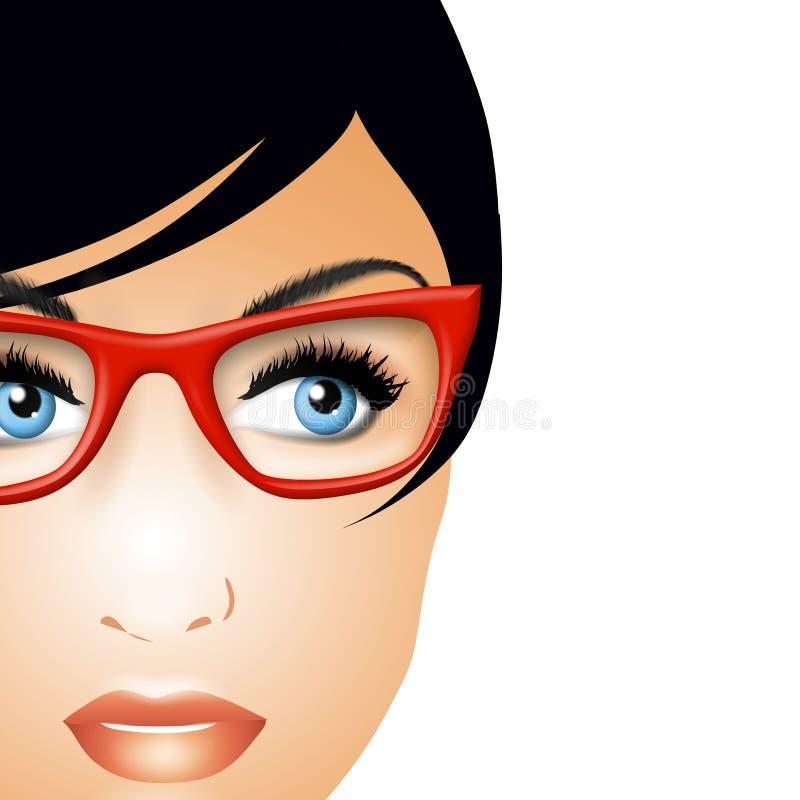 Vrouw die Glazen draagt vector illustratie