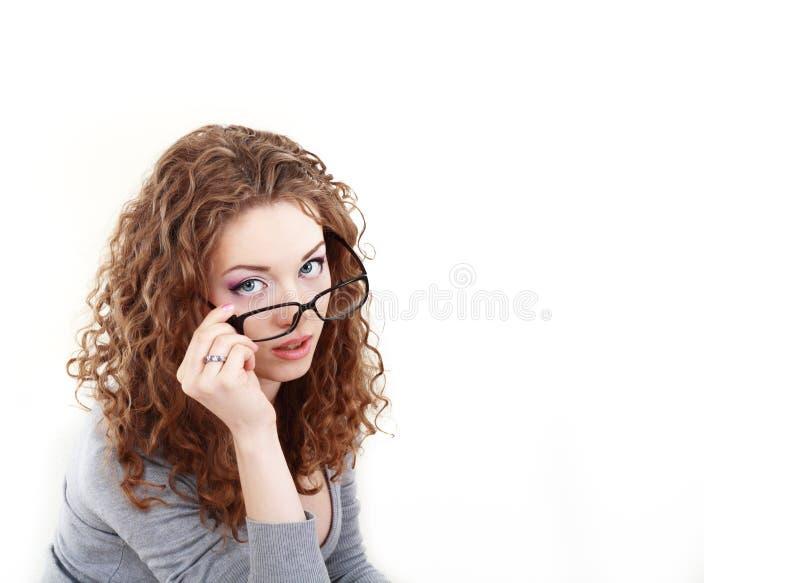 Vrouw die glazen dragen stock afbeeldingen
