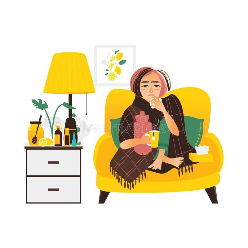 Vrouw die griep hebben, zittend zieken thuis royalty-vrije illustratie