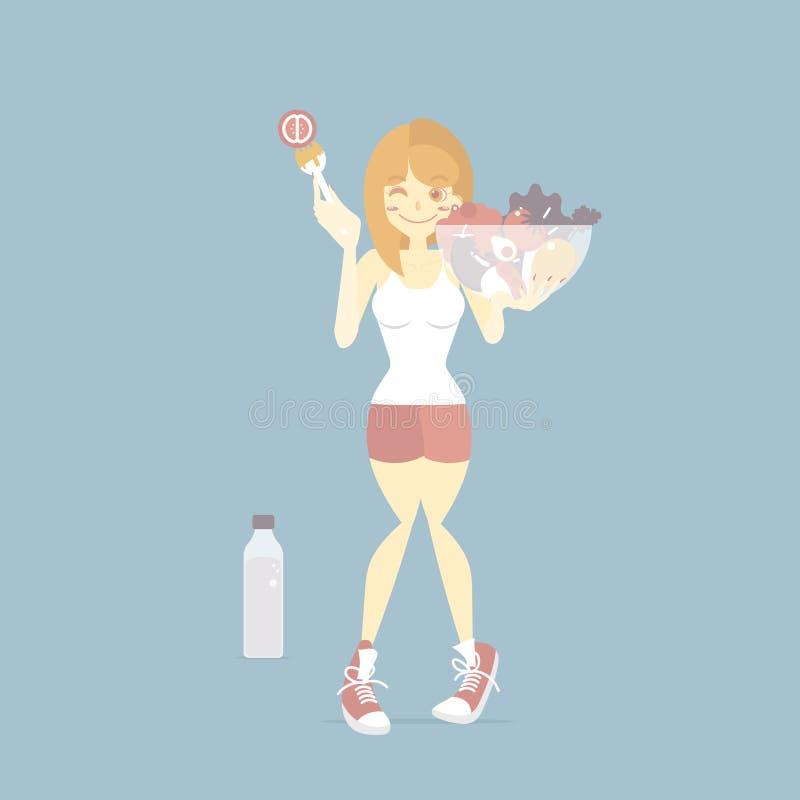 Vrouw die groente en water, gezond voedsel, dieet, vegetarisch levensstijlconcept eten royalty-vrije illustratie