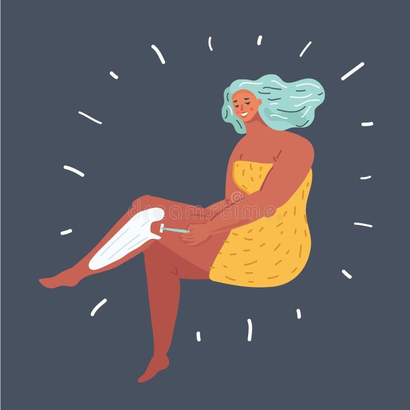 Vrouw die haar been op dark scheren royalty-vrije illustratie