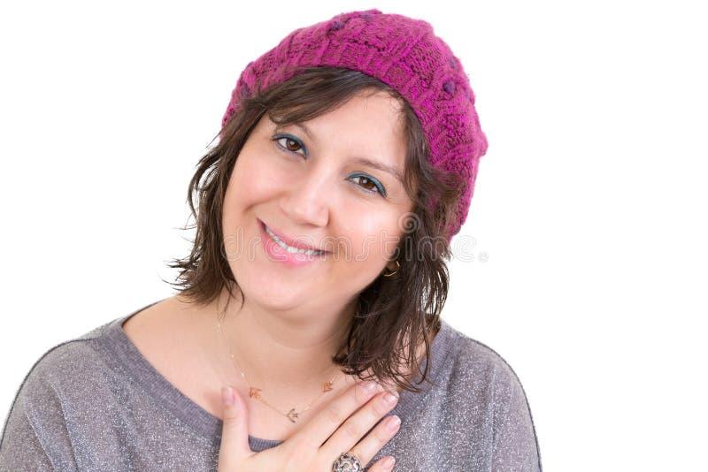 Vrouw die haar diepe dankbaarheid tonen stock afbeelding