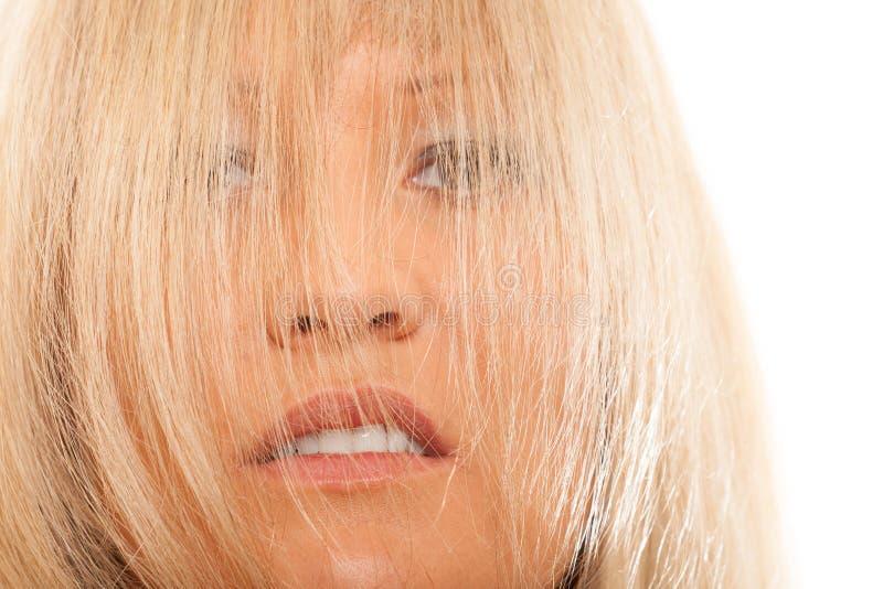 Vrouw die haar gezicht behandelen met lang recht haar royalty-vrije stock fotografie