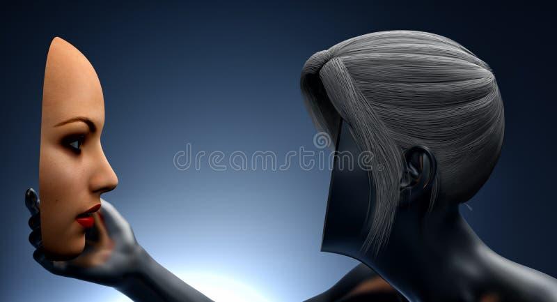 Vrouw die haar gezicht bekijken vector illustratie