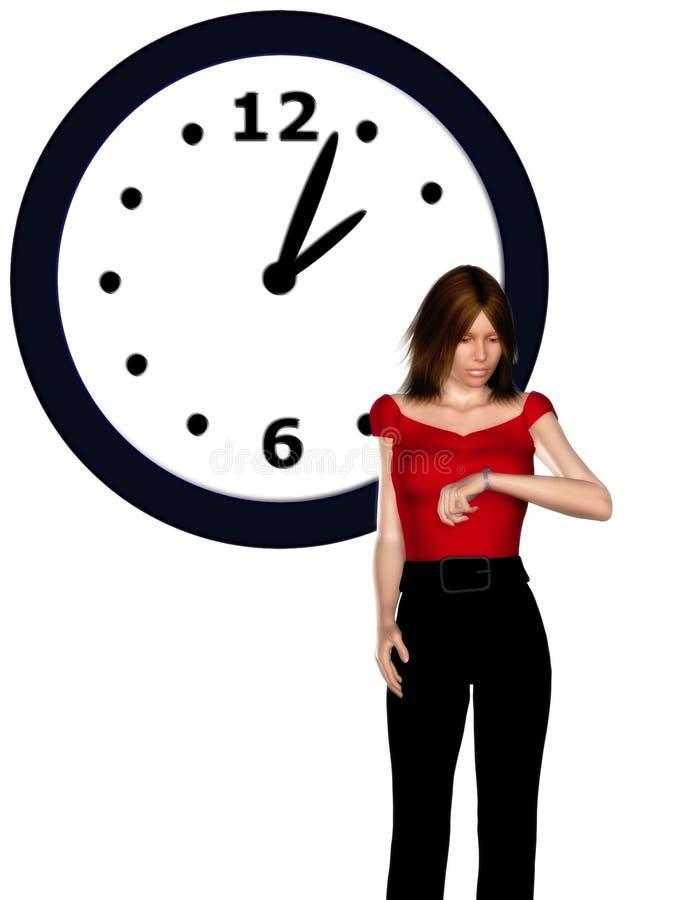 Vrouw die haar horloge bekijkt stock illustratie