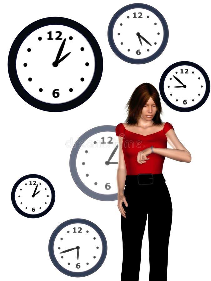 Vrouw die haar horloge bekijkt vector illustratie