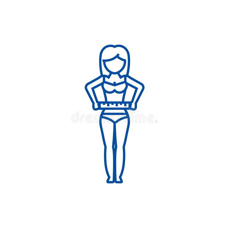Vrouw die haar taille, het concept van het de lijnpictogram van de dieetgeschiktheid meten Vrouw die haar taille, het vlakke vect royalty-vrije illustratie