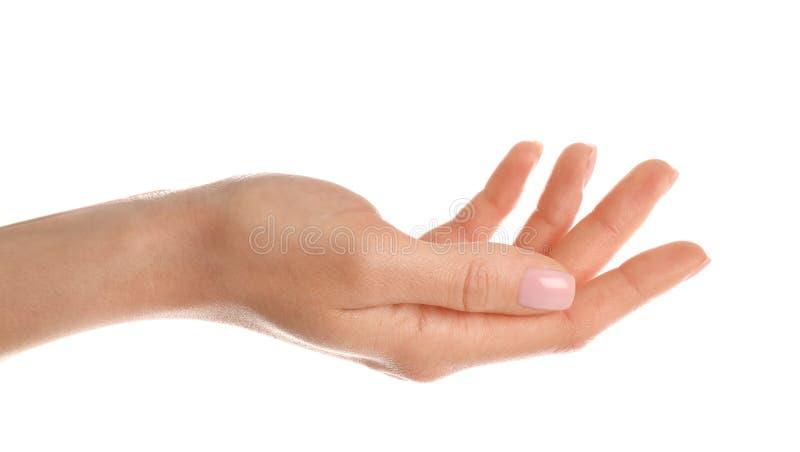 Vrouw die hand op witte backgroun tonen royalty-vrije stock foto