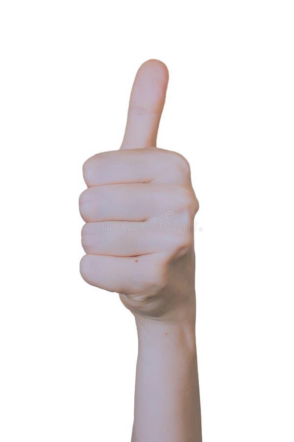 Vrouw die hand steunen die thums tonen of ik houd van teken stock foto
