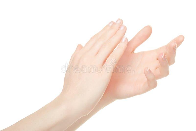 Vrouw die handen, applaus slaan stock afbeelding