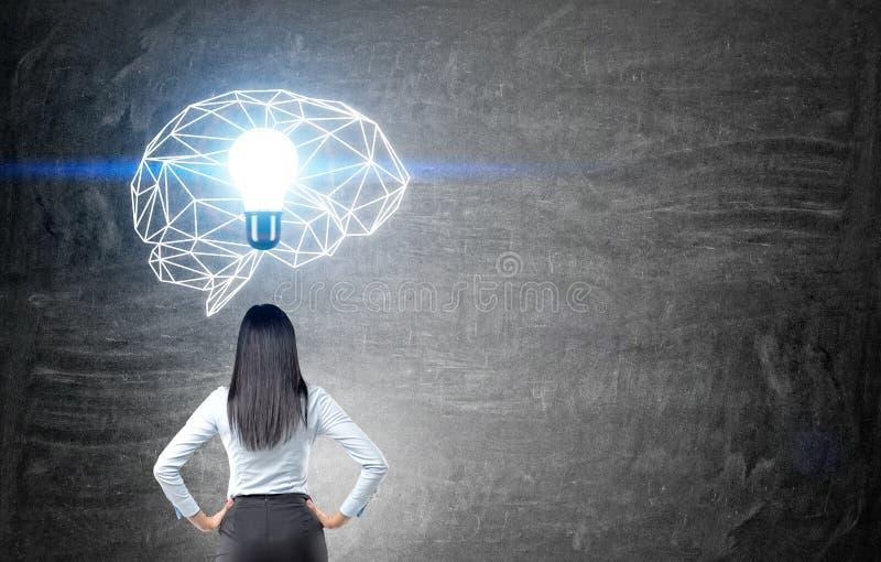 Vrouw die hersenenschets bekijken royalty-vrije stock foto's