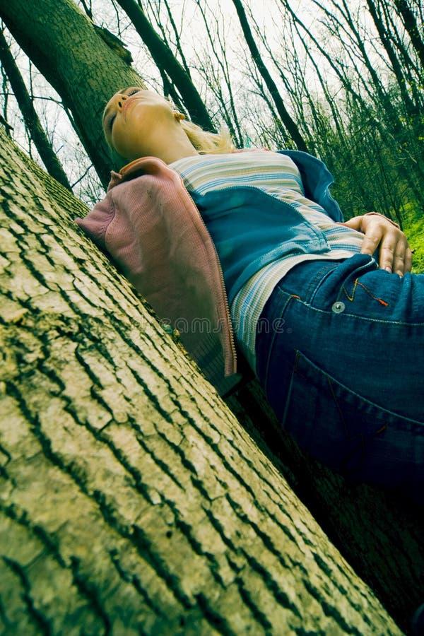 Vrouw die in het bos rust royalty-vrije stock afbeelding