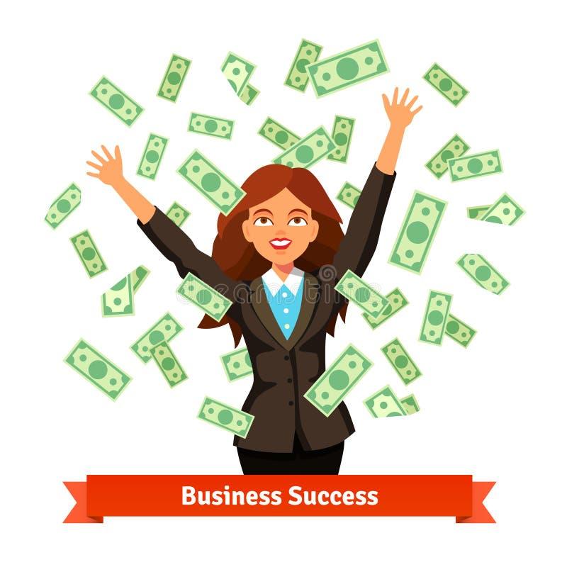 Vrouw die het groene geld van het dollarcontante geld in de lucht werpen royalty-vrije illustratie