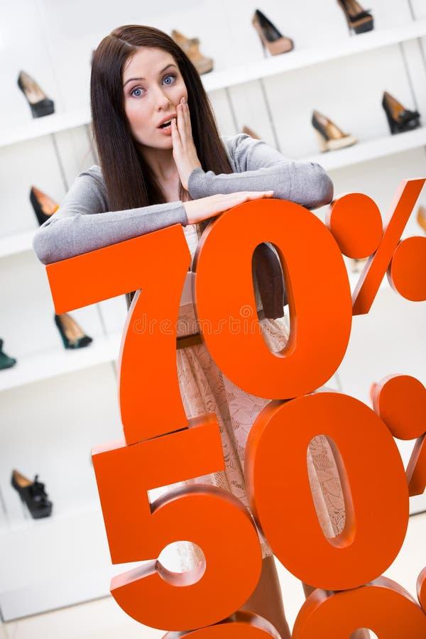 Vrouw die het percentage verkoop op schoeisel toont royalty-vrije stock foto's