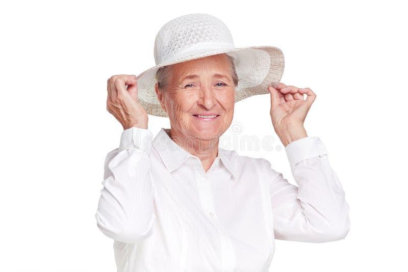 Vrouw die hoed dragen royalty-vrije stock afbeelding